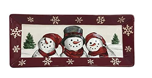 St. Nicholas Square Yuletide Snowman Trio with Snowflake Border Stoneware Treat Bread Serving Tray, 14-inch x 6-Inch