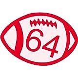 64 ballon de rugby 3534 autocollant adhésif sticker - Taille : 4 cm
