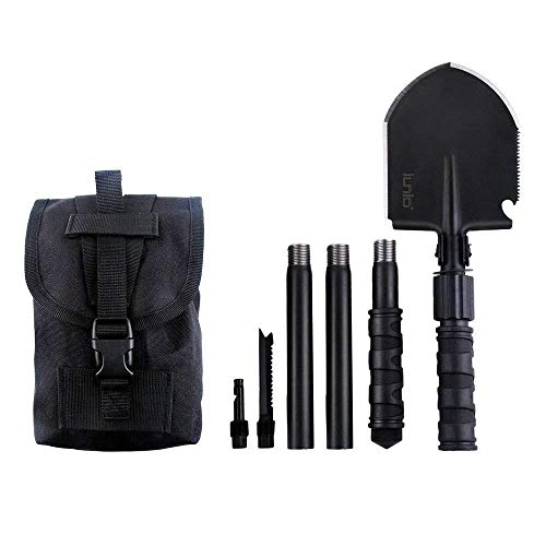 iunio Folding Shovel 31 inch Length Portable with Pickax Carrying Bag Multitool Spade for Camping Entrenching Car Emergency (Standard Black)
