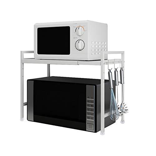 Vinteky Support Extensible en Métal Four à Micro-Ondes de Fourniture de Vaisselle Vaisselle de Stockage Compteur d'économiseur d'espace Organisateur Titulaire d'épice (Blanc)