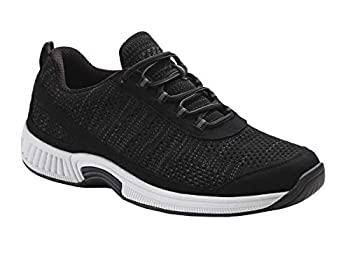Orthofeet Proven Heel and Foot Pain Relief Extended Widths Best Orthopedic Walking Shoes Plantar Fasciitis Diabetic Men's Sneakers Lava Black