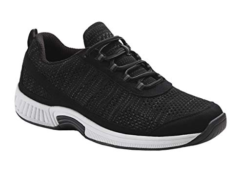 Orthofeet Proven Heel and Foot Pain Relief. Extended Widths. Best Orthopedic Walking Shoes Plantar Fasciitis Diabetic Men's Sneakers Lava Black