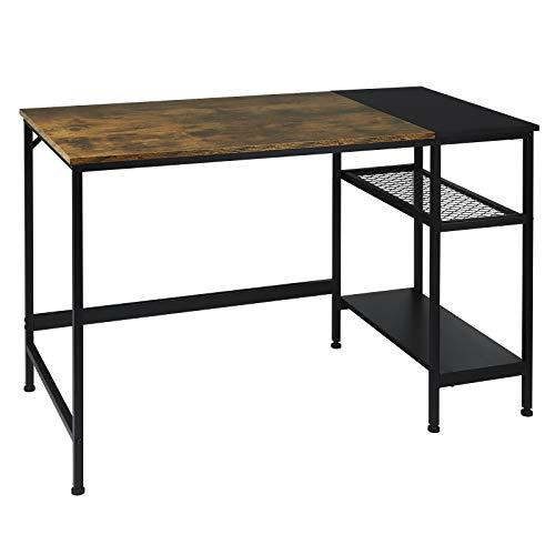 WOLTU Schreibtisch TS113hov Computertisch Bürotisch Arbeitstisch PC Laptop Tisch, mit 2 Ablagen, aus MDF und Stahl, 120x60x75cm(BxTxH), Holz Vintage+Schwarz