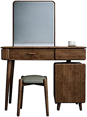 IOTXY Vanity Dressing Table Set - Light Luxury Solid Wood Makeup Bench with HD Mirror Drawers Cabinet and Soft Cushioned Stoo