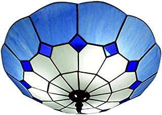 LITFAD LED Ceiling Lamp 5-Lights Tiffany Style Flush Mount Ceiling Light with Blue Art Glass Lotus Shade - 19.69