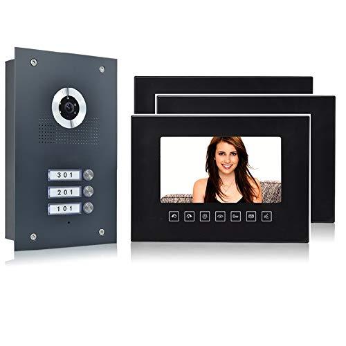 3-Familienhaus 2 Draht BUS Video-Türsprechanlage mit Kamera, Monitor Glasscheibe schwarz (Frontblende in Edelstahl RAL 7016 Anthrazit), Fischaugenkamera 170 Grad