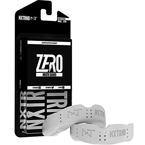 2 Pack Nxtrnd Zero Mouth Guard Sports – 1.6 mm Ultra Thin Professional Mouthguards for Boxing, MMA, Sparring, Wrestling, Football, Lacrosse and Other Sports, Mouth Guard Case Included (White)