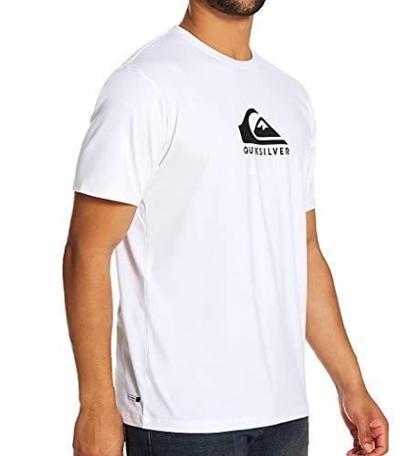 Quiksilver Men's Solid Streak SS Short Sleeve Rashguard SURF Shirt, White, S