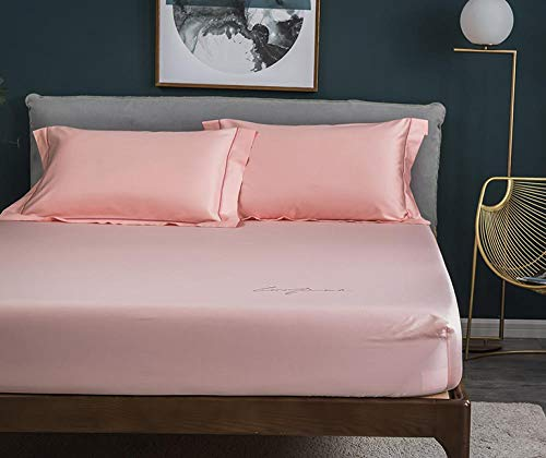 N / A Deep Bedsheets,Cotton satin non-slip fixed bed sheet three-piece mattress protection bed cover bed cover-Pink_fitted_sheet120cmx200cm+25cm