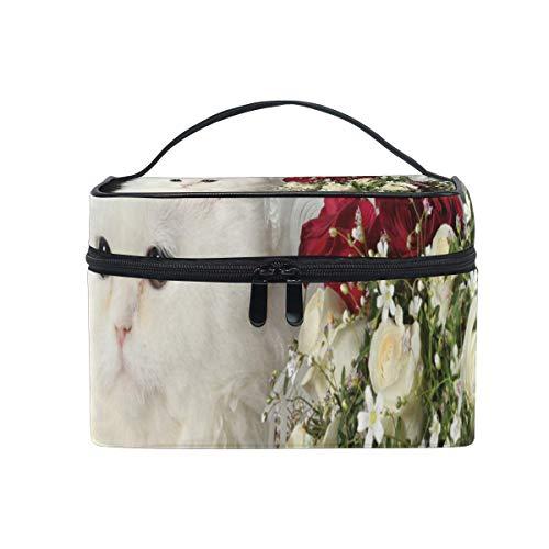 Maquillage Sac Chat Fleur Roses Cosmétique Sac Portable Grand Trousse de Toilette pour Femmes/Filles Voyage