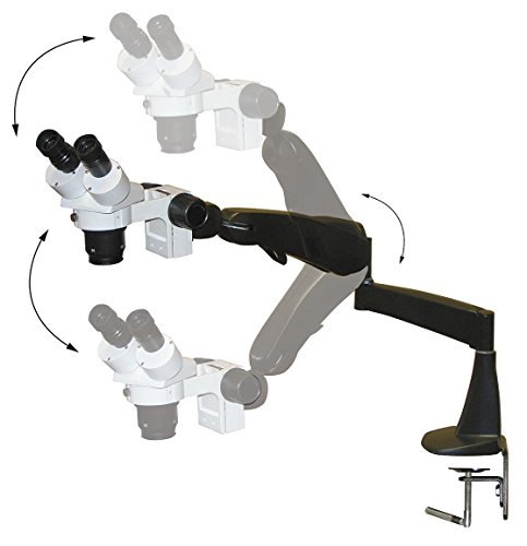 LW Scientific DMM-S12N-PA77 DM Dual Mag Stereomicroscope with Pneumatic Flex Arm Mount, 10X/20X Objectives with 0.5X Reducing Lens