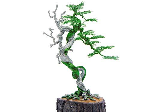 GREENHANDSHAKE Bonsai Copper Wire Tree Sculpture, Tree Sculptures Modern, Best Gift, Handcraft, Home Decor, Office Decoration (Green)