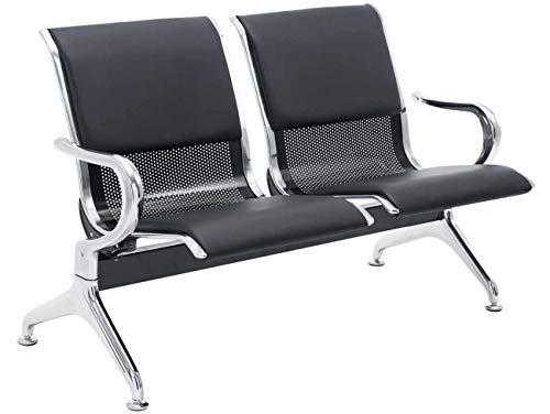Banco de Espera Airport en Cuero Sintético | Banco Robusto con Base de Metal | Banco con Reposabrazos | Color:, Color:Negro/Negro, Tamaño:2 plazas