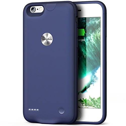 iPhone 6 6s Battery Case,Smiphee 2500mAh Portable Charging Case for iPhone 6 6s(4.7 inch) Extended Battery Juice Pack/Lightning Cable Input Mode-(Blue)