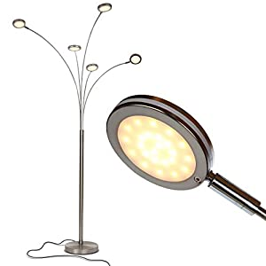 Brightech Orion 5 - Super Bright, Modern LED Arc Lamp - 5 Adjustable Arms & Light Heads Arch Over The Couch - Standing Tree Lamp for Living Rooms - Hanging Lighting - Satin Nickel (Silver)