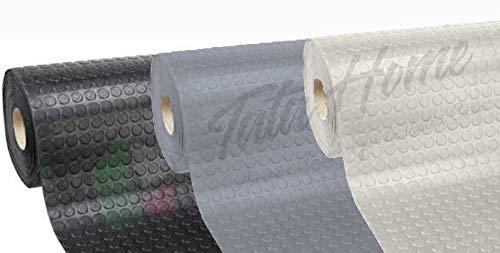 Pavimento Tappeto in PVC Gommato Rivestimento Linoleum Antiscivolo Flessibile e Resistente Disegno BollatoLarghezza 100 cm Lunghezza 20 m Colore Grigio Chiaro