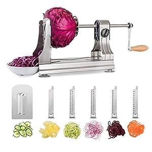 WellToBe CS-668 Cortador de Verduras en Espiral,Espiralizador de Verduras, Rallador Verduras de 6 Cuchillas en Acero Inoxidable,Herramienta de Cocina para Crear Pasta Vegetal y espagueti calabacín