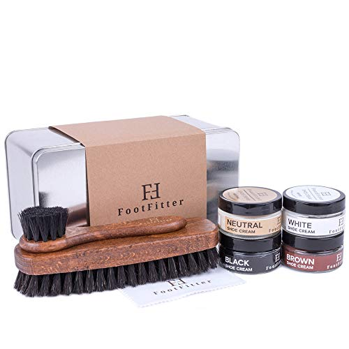 FootFitter Shoe Shine Detailing Set - Complete Shoe Care Set in Gift Tin! (Cream)