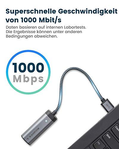 RAMPOW USB 3.0 Ethernet Adapter, USB A 3.0 auf RJ45 10/100/1000 Gigabit LAN Netzwerkadapter Kompatibel mit MacOS, Windows 10/8.1/8, Linux, and Chrome OS, Microsoft Surface und mehr Grau