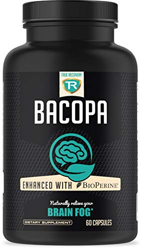 True Recovery Bacopa Monnieri Extract 750mg with High Absorption Bioperine - Brain Supplement for Enhansed Mental Focus and Clarity - 60 Vegetarian Capsules of Brain Booster Formula for Men and Women