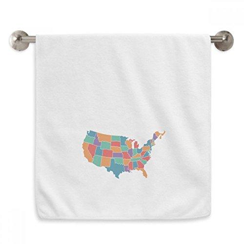 DIYthinker Toalha de mão com estampa dos Estados Unidos da América Map Toalha de mão de algodão macio