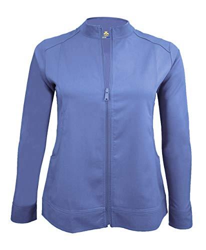 Natural Uniforms Women's Ultra Soft Stretch Front Zip Workwear Warm-Up Jacket (Ceil Blue, Medium)