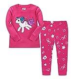 LitBud Fille Pyjamas Vêtements de Nuit Licorne De Noël 2pcs Manches Longues...