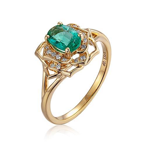 AMDXD Anillo de Oro 18K Compromiso, Anillos Boda Mujer Flor Diseño 4 Garras Ovalada Esmeralda 0.65ct con 0.11ct Diamante, Oro Amarillo, Tamaño 20 (Perímetro: 60mm)
