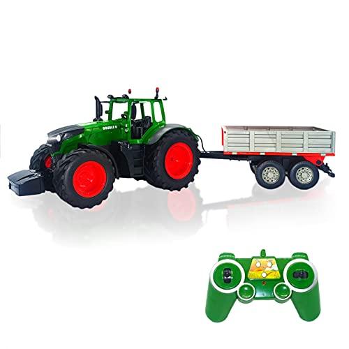 JUGUETECNIC │ Tractor Teledirigido con remolque desmontable| Sonidos y movimientos reales │ Batería Recargable y Control Remoto 2.4GHz | Tractores de Radiocontrol Agrícolas │ Escala 1:16.