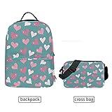 LUPINZ Mehrzweck-Rucksack mit abnehmbarer Umhängetasche, Herzmuster, Pink