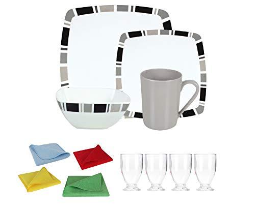 Moritz Ensemble vaisselle de camping en mélamine 4 personnes Design Carre + 4 verres à jus Transparent + 1 chiffon microfibre 4 couleurs