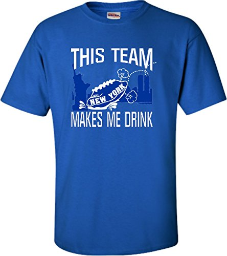 XXX-Large Royal Blue Adult This Team Makes Me Drink Funny Football New York GMen T-Shirt