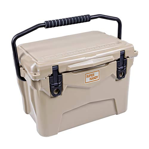 SuperHandy Rotomolded Cooler Ice Chest ENHANCED 20QT Keeps Ice Up to 10 Days Commercial Grade Food Safe Dry Ice Compatible UV Protection Gasket Bottle Opener for BBQs, Tailgating & Outdoor Activities