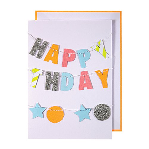 Meri Meri, Happy Birthday Greeting Card - Colorful Garland