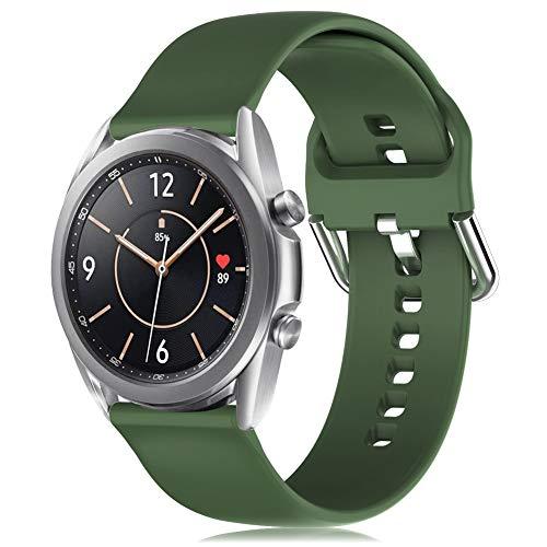 RIOROO 20mm Correa Compatible para Samsung Galaxy Watch 3 41mm / Active / Active 2 40mm 44mm Correa Mujer Hombre Sport Silicona Band Verde oscuro, Accesorios (sin Reloj), L