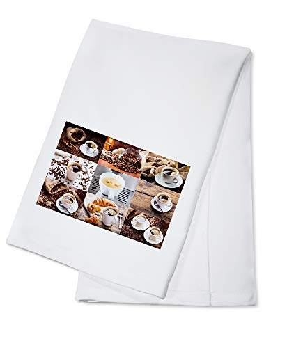 Collection of Coffee and Espresso in White Cups with Bags of Roasted Beans - Photography 108638 (100% Cotton Kitchen Towel)