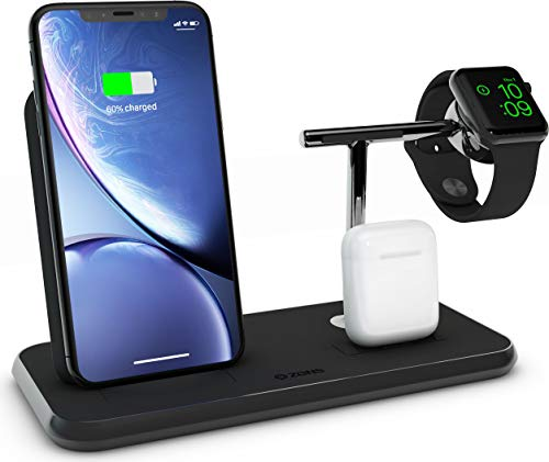 ZENS Qi und MFi zertifizierter Stand+Dock+Watch Aluminium Wireless Charger Schwarz, Für Apple iPhone 8/8 Plus/X/Xr/Xs/Xs Max/11/11 Pro/11 Pro Max, Apple Watch, Apple AirPods und alle Qi-fähigen Telefone
