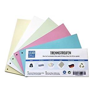 Trennstreifen, 100 Stück, 5 Pastellfarben: 20 Stück je Farbe, 24 x 10,5 cm, gelocht, 160g/m², zum Sortieren und Trennen von Dokumenten bis DIN-A4-Format