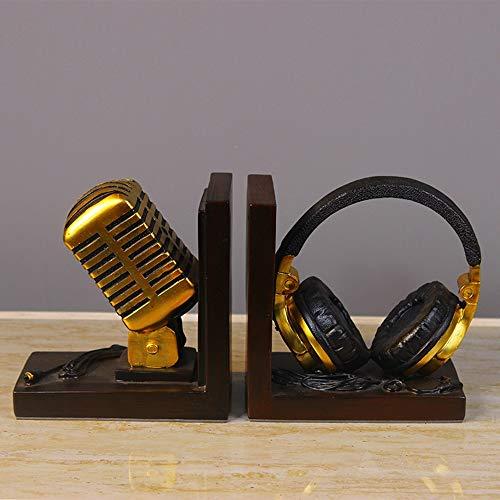 ETH Europees-model Bibliotheek Boeken Zachte Meubels Decoratie Creatieve Retro Microfoon Headset Op Bookend Meubels Home Decoratie 27,5 * 8 * 14,5 cm Halloween carnaval