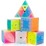 D-FantiX Qiyi Jelly Cube Set, 6 Pack Speed Cube Set 2x2 3x3 4x4 Pyramid Skewb Ivy Cube- Qiyi Qidi S Warrior W Qiyuan Qiming Puzzle Cubes Bundle for Kids Adults