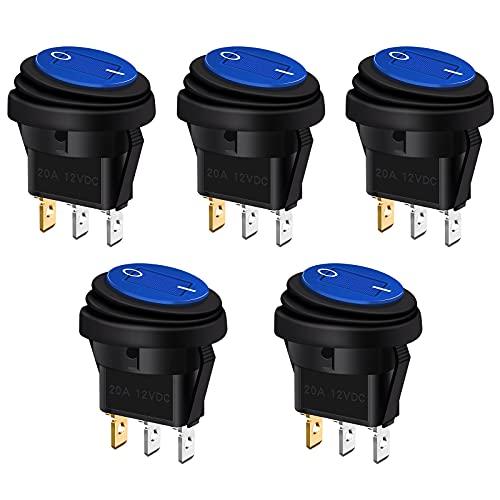 Bolatus 5pcs Interruptor basculante redondo iluminado impermeable 12V 20A botón de presión, interruptor SPST de encendido / apagado con LED azul para automóvil barco camión remolque