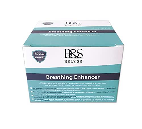 B&S BELYSS | Breathing Enhancer Vitamina A B2 B3 Biotina Tomillo| Ayuda a Disminuir el Cansancio y la Fatiga | Mantenimiento de Piel y Mucosas | Efecto Calmante sobre la Garganta | 30 sticks líquidos