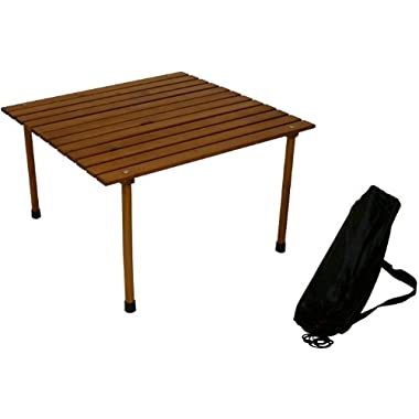 Table in a Bag W2817 Low Wood Portable Table With Carrying Bag, Brown