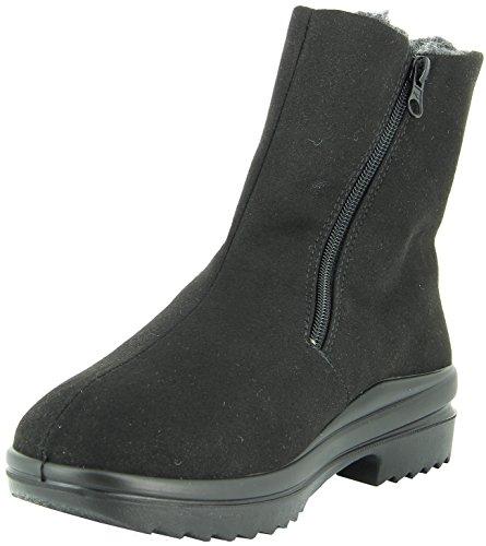 Florett Ina 46451 Damen Stiefel, Stiefelette, Boot, Winterschuh, reines Schurwollfutter, Weite K für volle Füße, doppelte Reißverschlüsse für einfaches anziehen schwarz (schwarz), EU 38