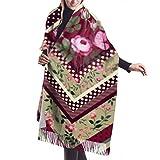 Manta, Bufanda con Flecos, Accesorios de Vestidos, Tapiz, patrón Decorativo de Patchwork sin Costuras Rosas, Capa de Chal de Poncho con borlas Premium