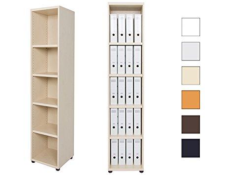 Aktenregal 5 Fächer versch. Farben | Büroregal 5 OH aus Holz | Büromöbel Ordnerregal Standregal H189 x B40 x T40 cm | höhenverstellbare Regalböden u. Stellfüße | hauseigene Fertigung (Ahorn)