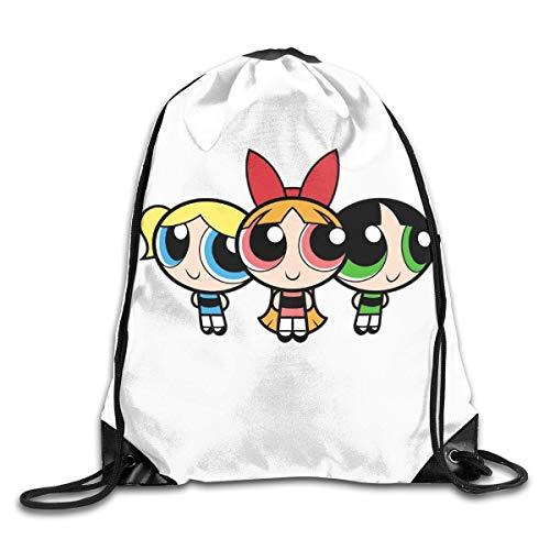 JHUIK Drawstring Bag Backpack,Le Sac à Dos Powerpuff Girls Fashion Design épaule Sac à Cordon Homme Femme Sacs Blanc Taille Unique