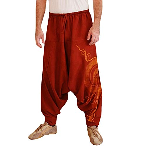 Tomatoa Haremshose Herren Freizeithose Retro Drucken Pumphose Aladinhose Jogginghose Trainingshose Manner Hosen Streetwear Pants Goa Hippie Hose S - 3XL