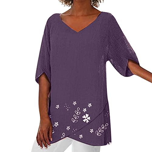 WANGTIANXUE Túnica blusa para mujer, camiseta larga de verano, diseño floral, manga media, asimétrica, informal, ropa de calle estampada, blusa y blusa morado L