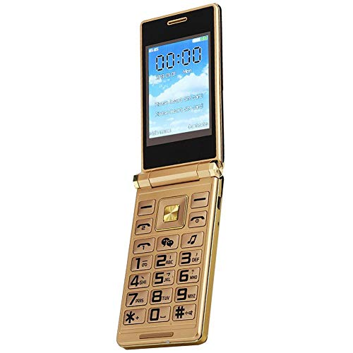 Flip Mobile Phone 3.0 Inch Touch Screen Large Bouton Dual SIM Card 6800mAh 2G GSM Unlocked Cell Phone with Flashlight MP3 Player for Old People/Poor Vision People (Gold)(US Plug)